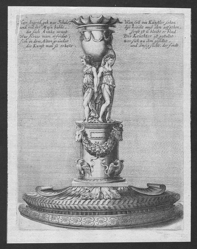 1700 Leuchter Kerzenhalter chandelier candle etching Kupferstich antique print