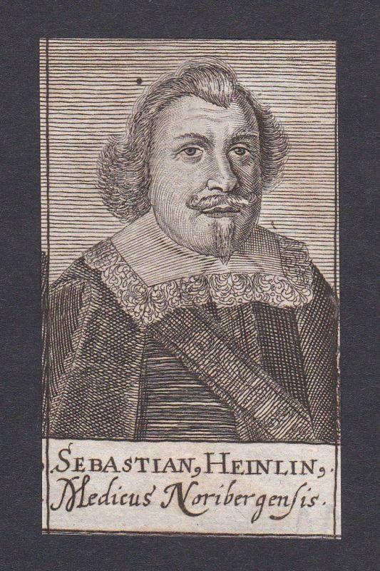 17. Jh. - Sebastian Heinlin doctor Mediziner Arzt Nürnberg Portrait Kupferstich