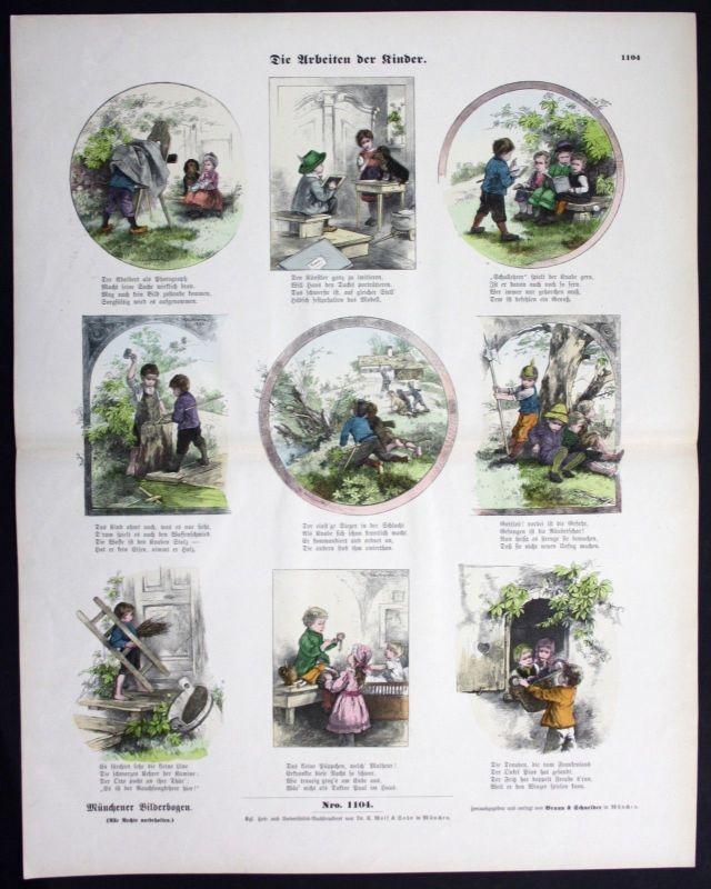 1890 Kind Kinder Kinderspiel Spiele Münchener Bilderbogen Bildergeschichte