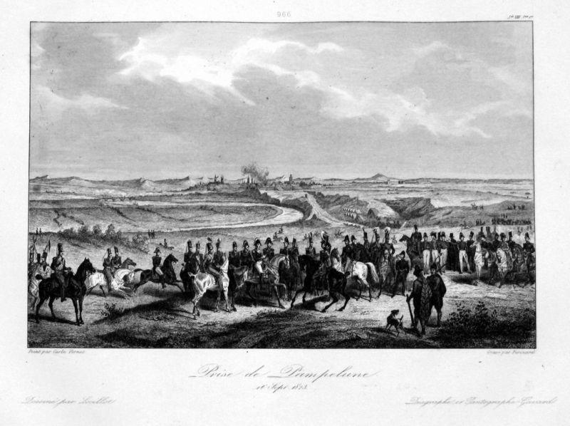 1840 Pamplona Navarra vista Espana Ansicht vue estampe Stahlstich antique print