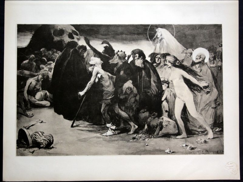 1897 Eugene Trigoulet Tod Art Nouveau Jugendstil Lithographie estampe Mod 113271