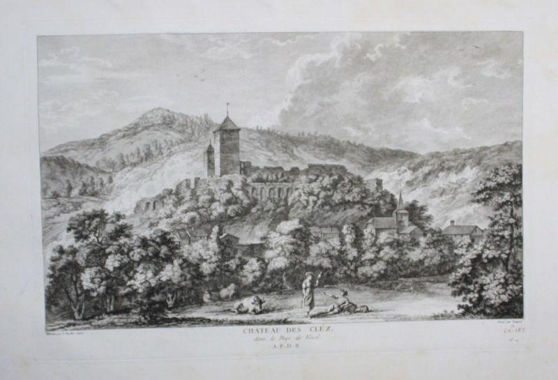 1780 - Les Clees Kanton Waadt gravure Kupferstich Zurlauben