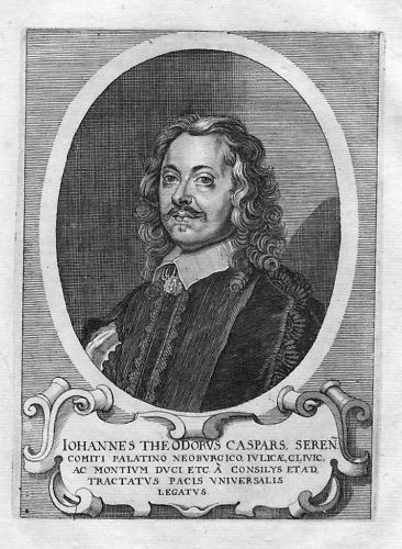 1650 - Johann Theodor Caspars Pfalz-Neuburg Portrait Kupferstich engraving