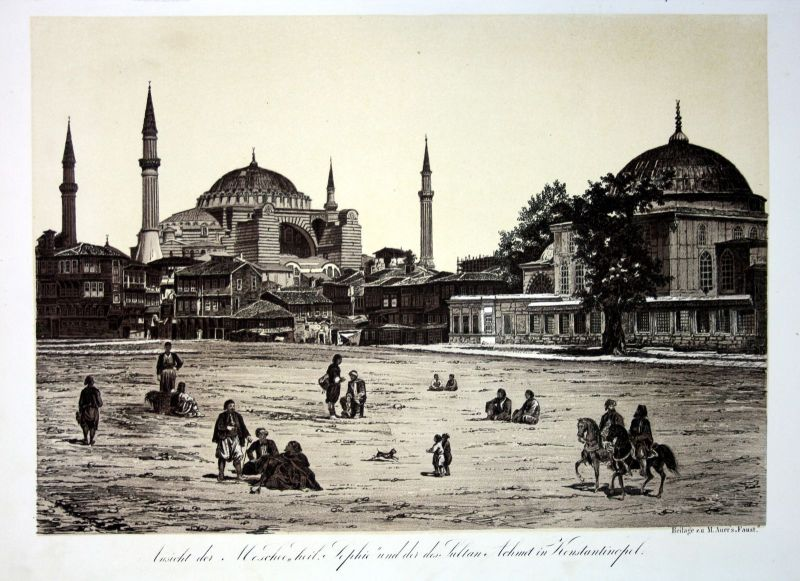 1856 Hagia Sophia Sultan Ahmed Mosque Istanbul Turkey Türkei Lithographie Litho