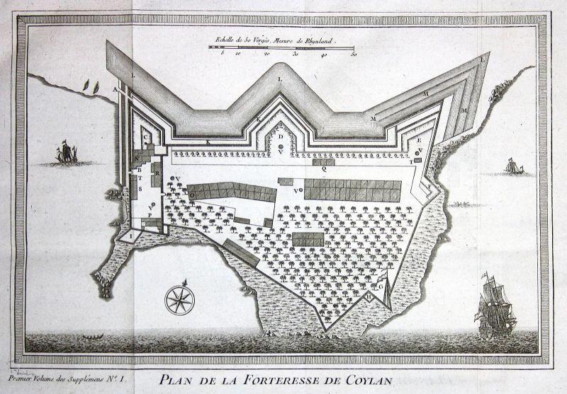 1750 Kollam Kerala India Indien map view plan Kupferstich antique print Bellin