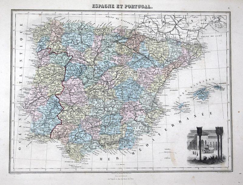 Espana Portugal Spain Spanien Karte map Kupferstich antique print Lacoste