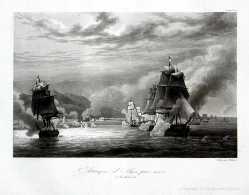 1840 Invasion of Algiers Algeria Ansicht vue estampe Stahlstich antique print