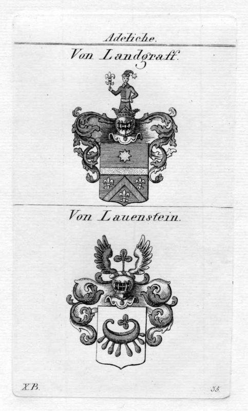 1820 Landgraf Lauenstein Wappen Adel coat of arms heraldry Heraldik Kupferstich