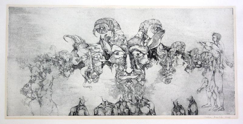 1969 Teufel Gesicht Körper Surrealismus Radierung signiert Christian Mischke