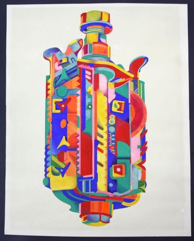 Beyrein / München - Original Zeichnung 70er Jahre Abstrakt Kunst signiert