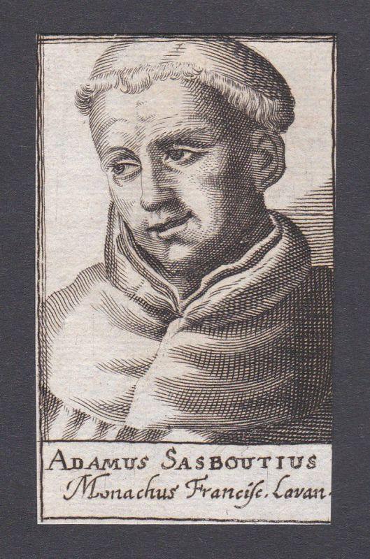1680 Adam Sasbout / theologian Theologe Löwen Portrait Kupferstich