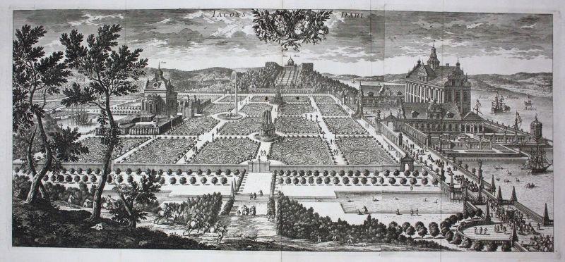 1710 - Ulriksdals slott Solna Stockholm sweden Kupferstich Dahlberg engraving