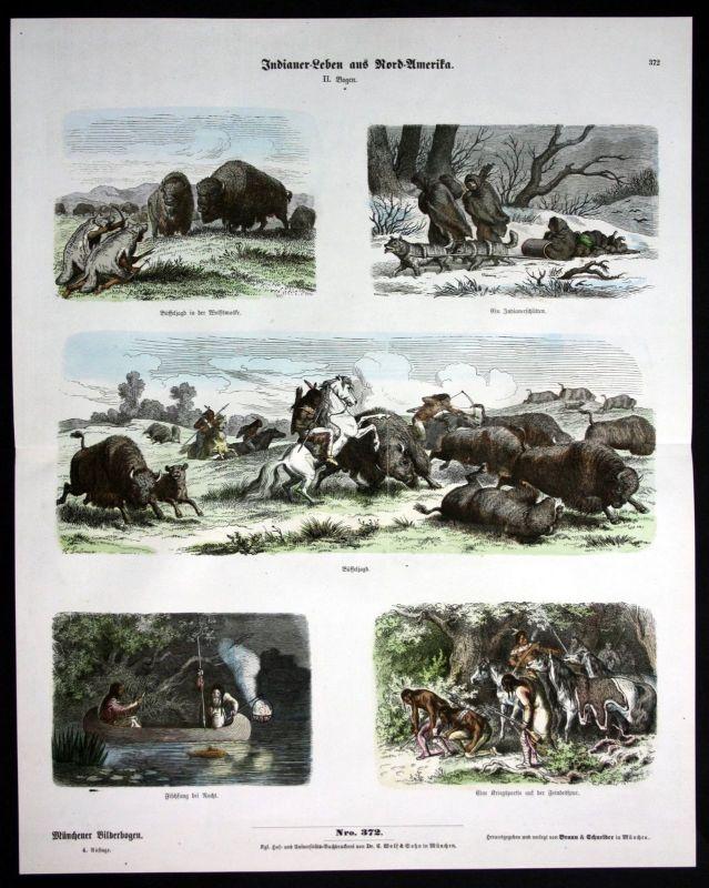 Amerika America Indianer Büffel Jagd hunting Münchener Bilderbogen