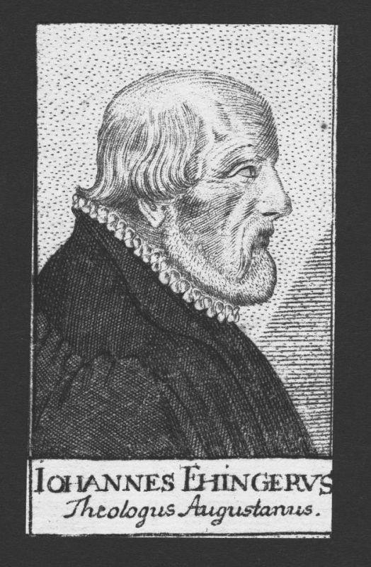 1680 - Johann Ehinger Theologe Mönch Professor Augsburg Kupferstich Portrait