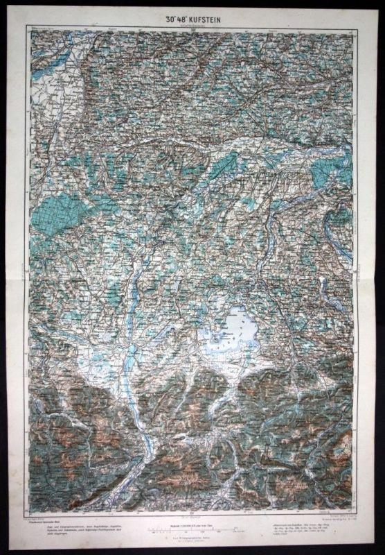 Rosenheim / Altötting / Chiemsee / Wasserburg / Kufstein - alte Landkarte 1921