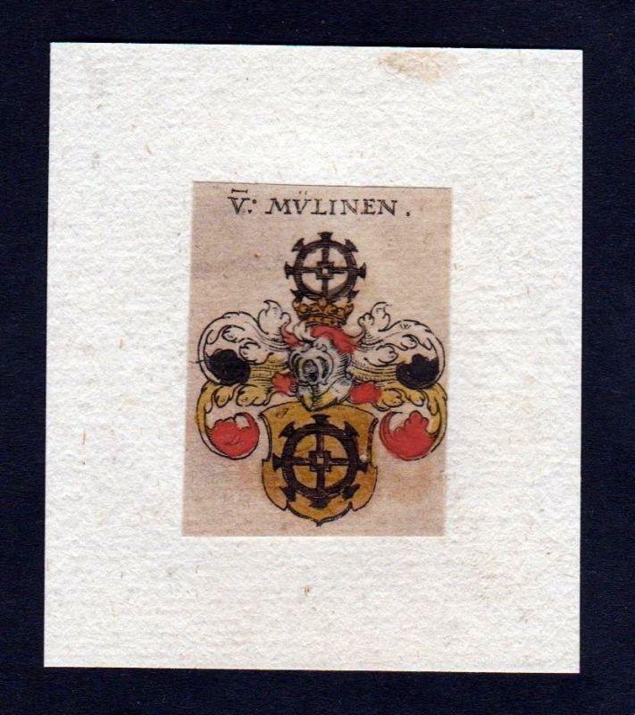 17. Jh. von Mülinen Wappen Adel coat of arms heraldry Heraldik Kupferstich