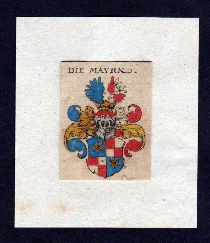 17. Jh. von Mayr Mayer Wappen Adel coat of arms heraldry Heraldik Kupferstich