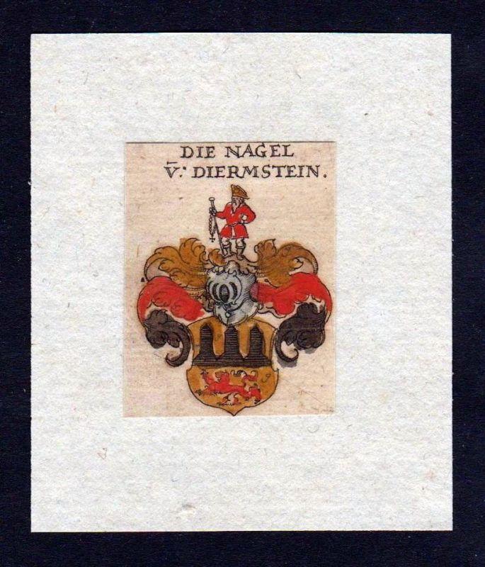17. Jh. Nagel Diermstein Wappen coat of arms heraldry Heraldik Kupferstich