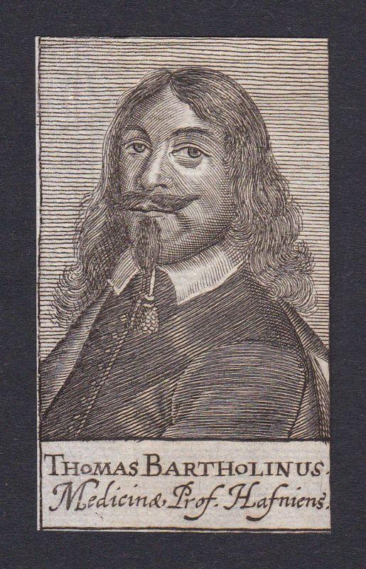 17. Jh. - Thomas Bartholin / physician Arzt Copenhagen Portrait Kupferstich