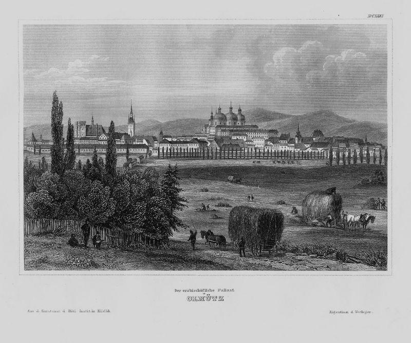 1840 - Olmütz Olomouc Palast Olomoucky kraj Tschechien engraving Stahlstich