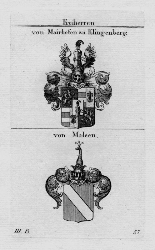 1820- Mairhofen Klingenberg Malsen Wappen Adel coat of arms heraldry Kupferstich