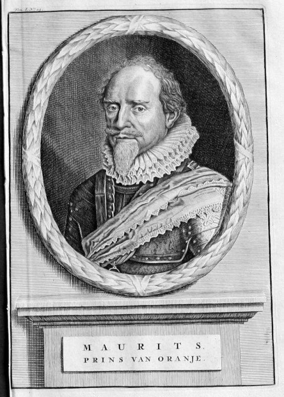 1700 Moritz Graf v. Nassau-Oranien Portrait Kupferstich Maurits Oranje gravure