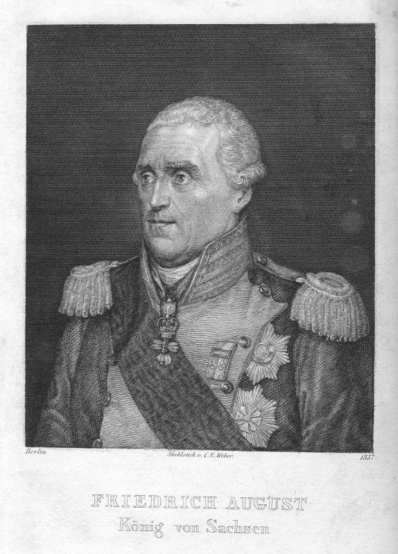 1837 Friedrich August I Sachsen König Portrait Stahlstich antique print Weber