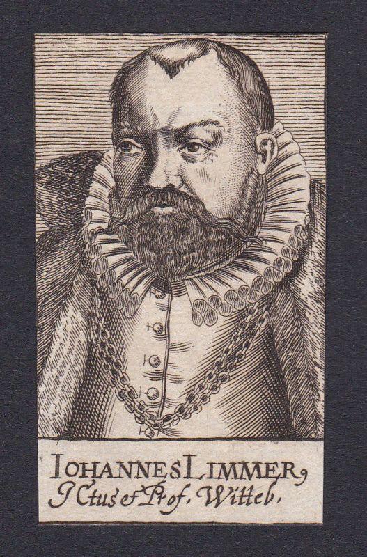 17. Jh. - Johannes Limmer / professor Wittenberg Portrait Kupferstich