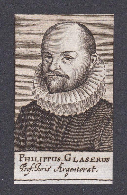 17. Jh. - Philipp Glaser / jurist Professor Strasbourg Portrait Kupferstich