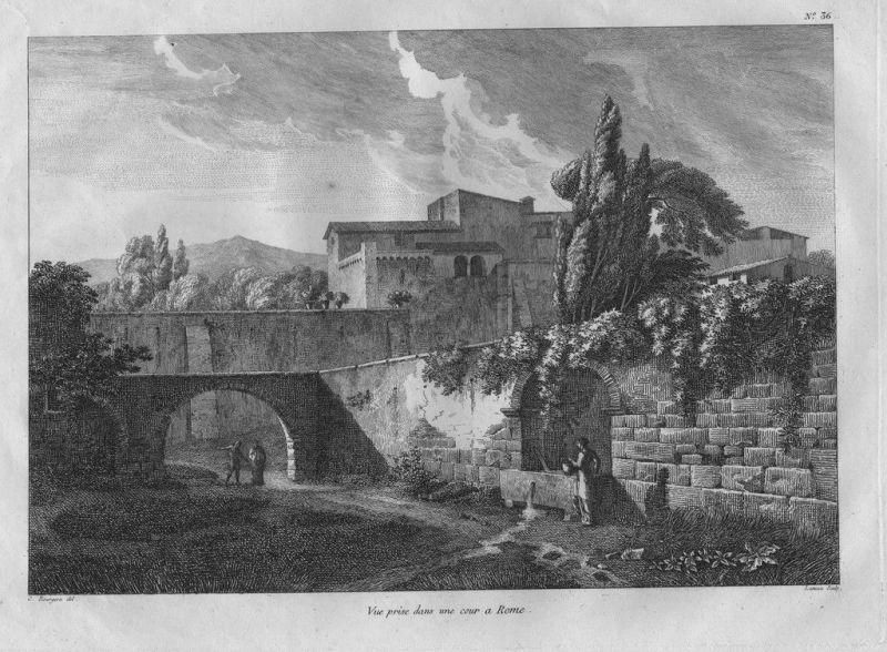 1804 - Roma Rom Rome incisione Bourgeois acquaforte veduta