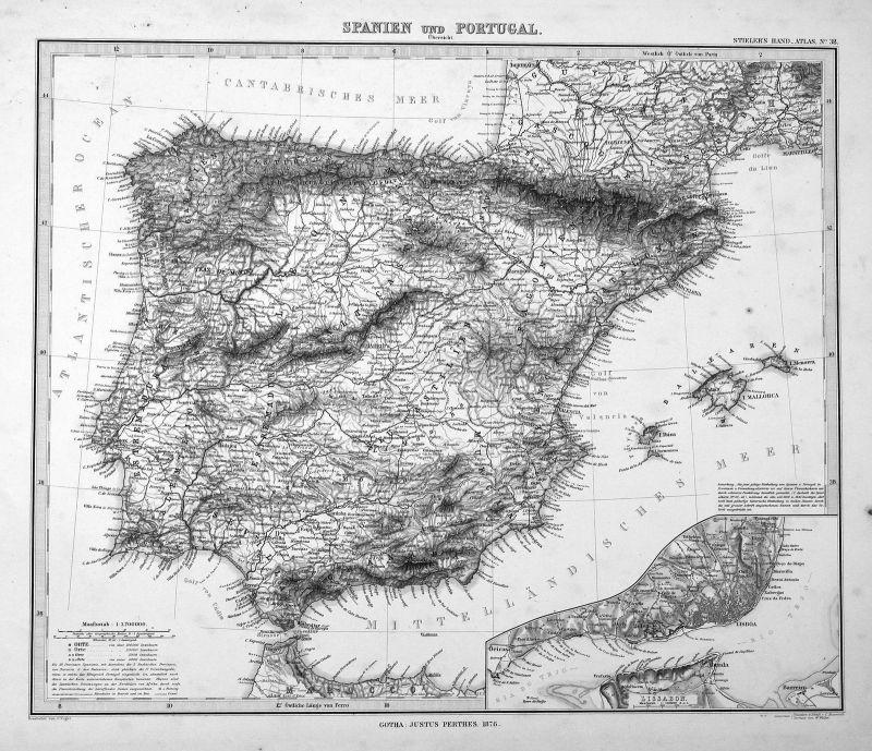 1876 Portugal Lisboa Espana Spain Spanien Karte map antique print Metzeroth