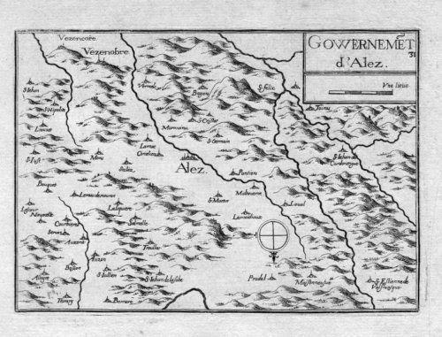 1630 - Alès Gard Languedoc-Roussi. Carte Gravure Tassin map estampe