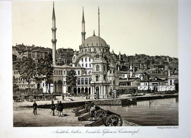 1857 Istanbul Tophane militaria Artillerie Turkey Türkei Lithographie Litho