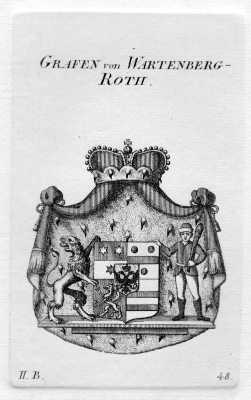 1820 - Wartenberg Roth Wappen Adel coat of arms heraldry Heraldik Kupferstich