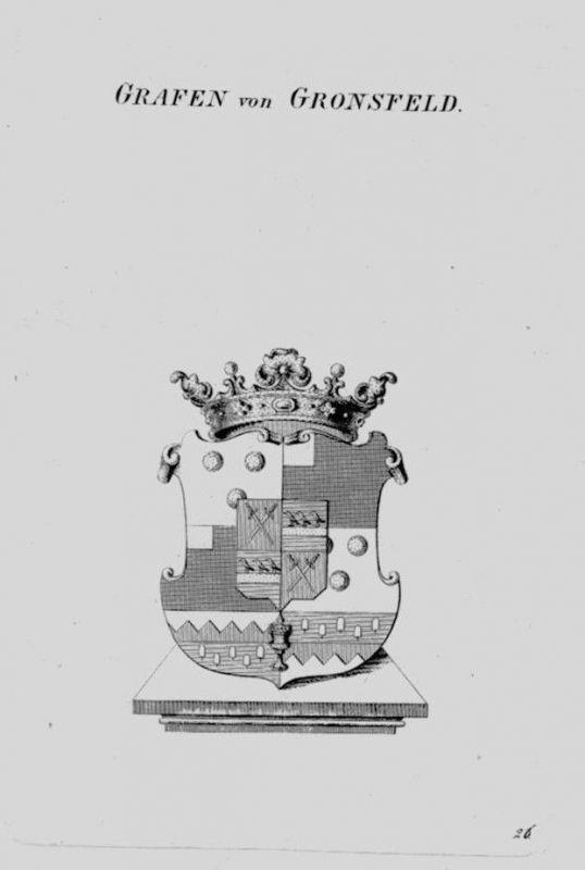 1820 - Gronsfeld Wappen Adel coat of arms heraldry Heraldik crest Kupferstich