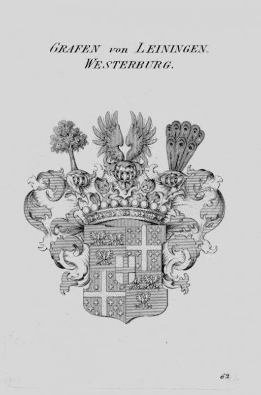 1820 Leiningen Westerburg Wappen Adel coat of arms heraldry Heraldik Kupf 104629