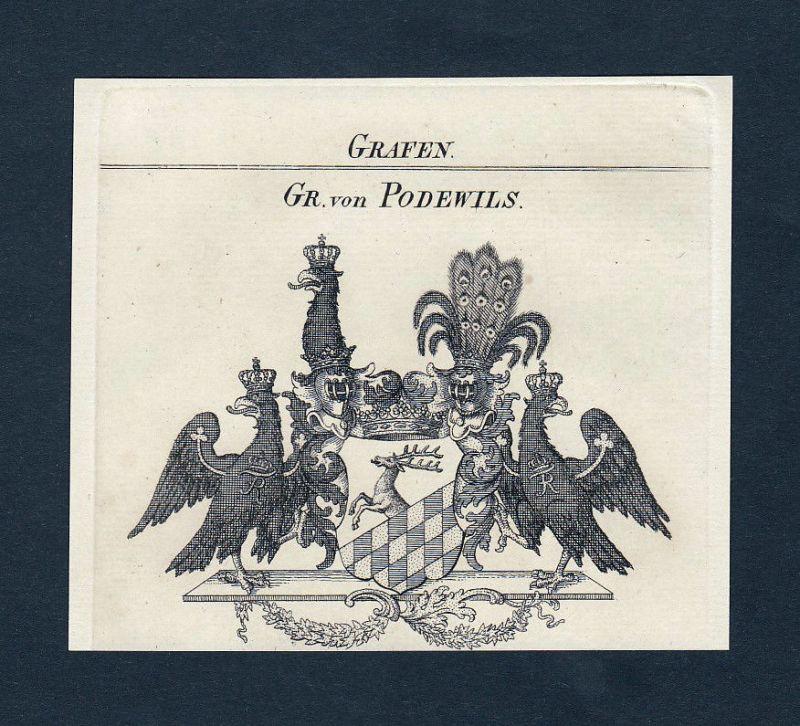 Ca. 1820 Podewils Wappen Adel coat of arms Kupferstich antique print heraldry