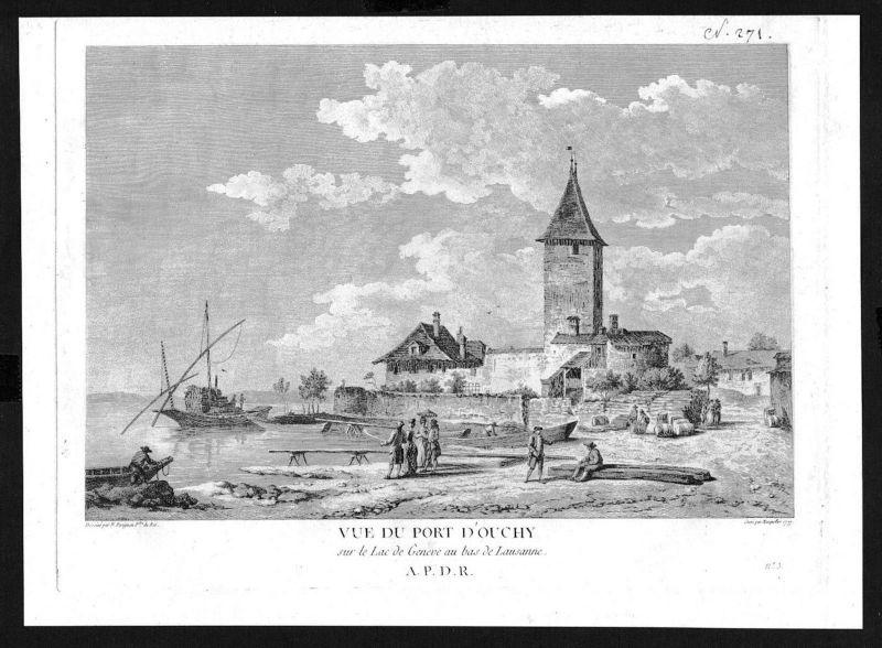 1780 - Ouchy Genfersee gravure Kupferstich Zurlauben
