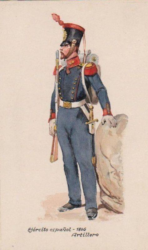 1930 - Artillerist Espana Spanien Militaria Uniform Uniformen Original Aquarell