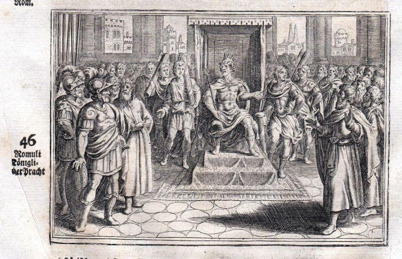 Um 1700 Romulus König king Pracht glory Kupferstich antique print Merian