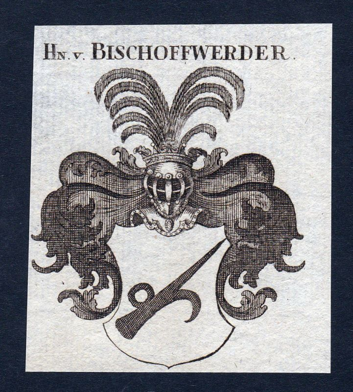 Ca. 1820 Bischoffwerder Wappen Adel coat of arms Kupferstich antique print