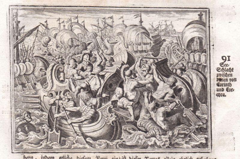 Ca 1700 Korinth Corinth See Schlacht sea battle Kupferstich antique print Merian