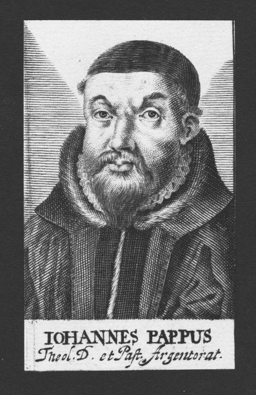 1680 - Johannes Pappus Theologe Tübingen Straßburg Kupferstich Portrait
