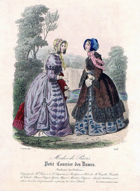 1846 Biedermeier Mode Kupferstich victorian fashion antique print etching  89740