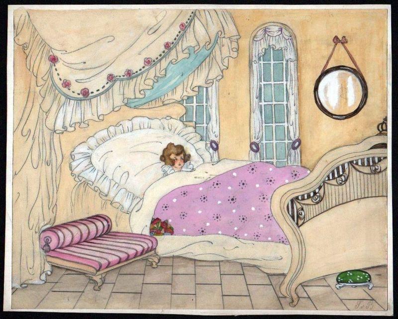 Kind im Bett Prinzessin Tilly von Baumgarten-Haindl Zeichnung drawing