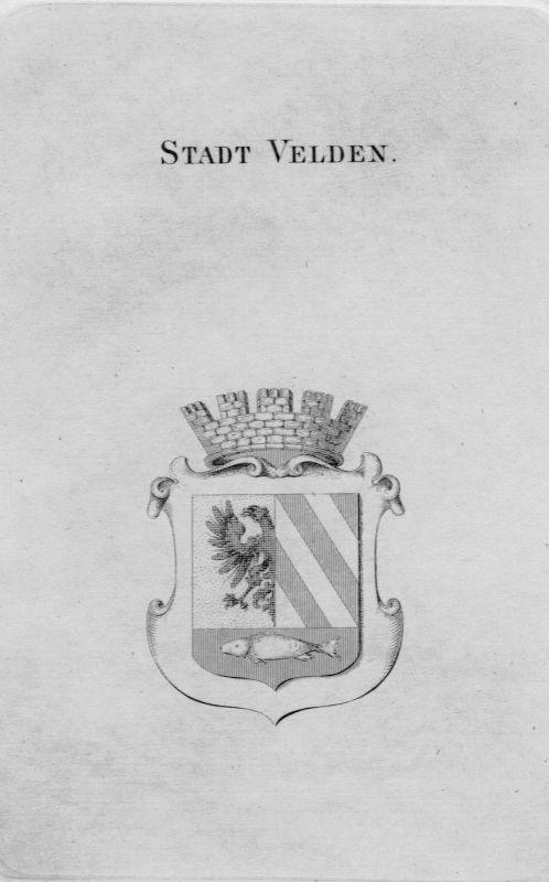 1820 - Stadt Velden Wappen Adel coat of arms heraldry Heraldik crest Kupferstich