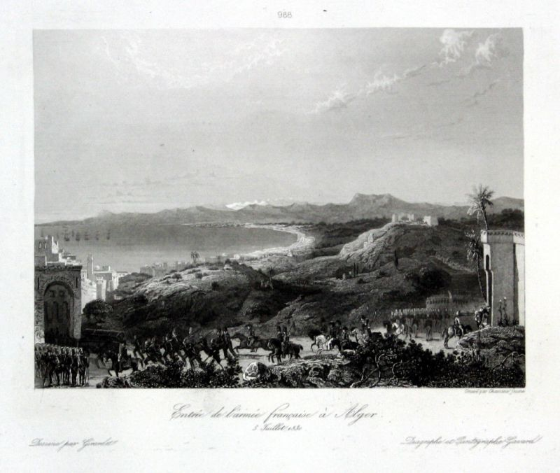 Ca. 1840 Algiers Algeria battle Ansicht vue estampe Stahlstich antique print