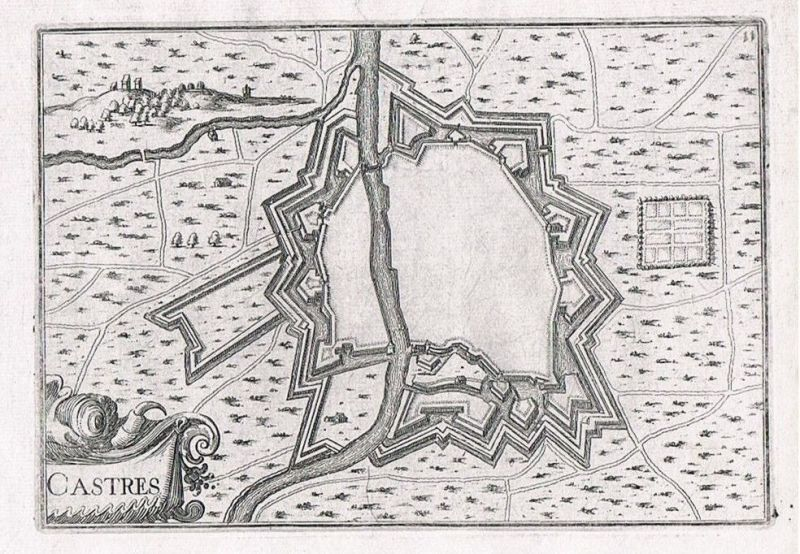 1660 - Castres Midi-Pyrenees Tarn plan gravure Original Kupferstich Tassin