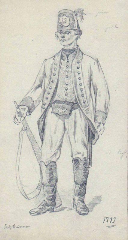1930 - Soldat Militaria Uniform Uniformen uniforms Original Zeichnung signiert