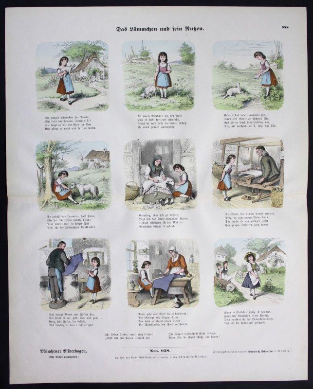 1890 Lamm Lämmchen Schaf Wolle Mädchen Münchener Bilderbogen Bildergeschichte